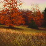 pastel painting of trees with fall-colored leaves by Judy Howard