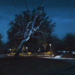 pastel painting of night scene of metal tree sculpture by Roxy Paine in front of Crystal Bridges Museum of American Art