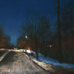 pastel painting of night scene with road, streetlights, trees and snow by Judy Howard