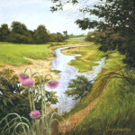 pastel painting of a creek, trees and wild thistles by Judy Howard
