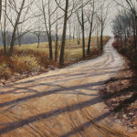 pastel painting of a winter landscape with tracks in a dirt road by Judy Howard